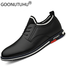 2019 new fashion mens shoes casual genuine leather male sneakers height increasing shoe man white & black lace up for men