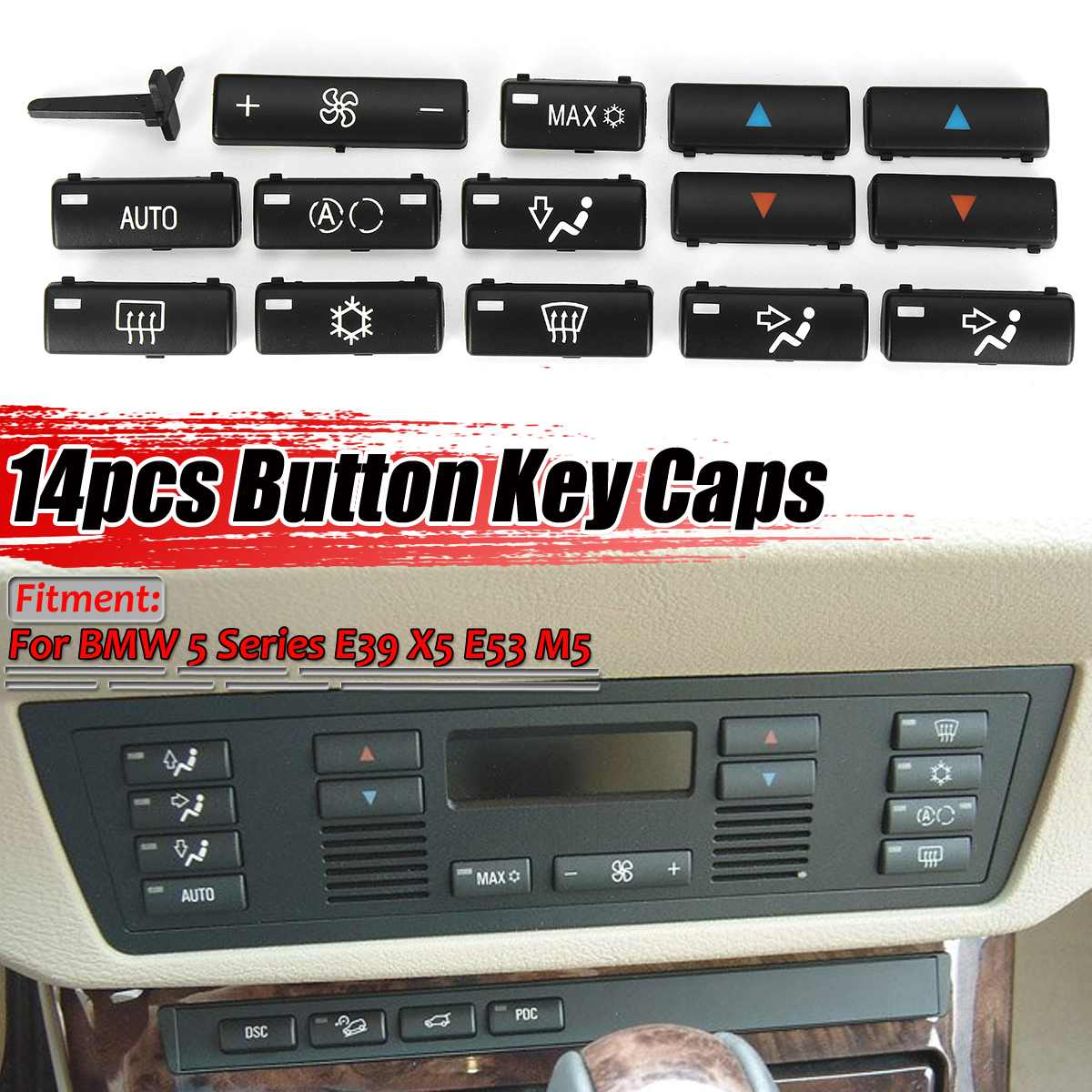 New <font><b>14</b></font> Button <font><b>Key</b></font> <font><b>Caps</b></font> Replacement Climate A/C Control Control Panel Switch Buttons Cover For BMW E39 E53 525i 530i 540i M5 X5 image