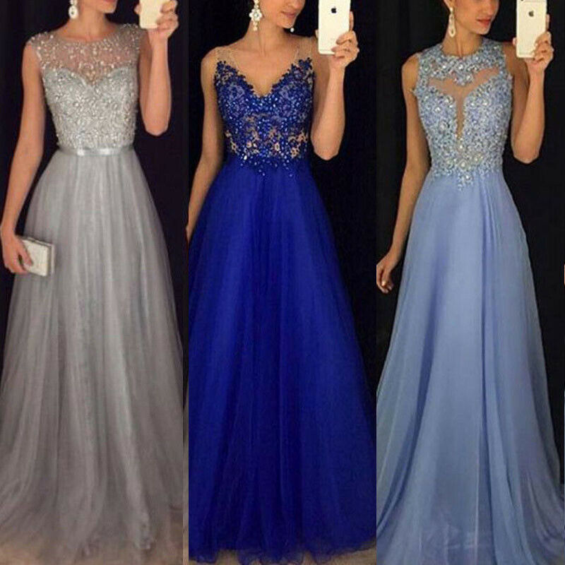 2019 New Fashion <font><b>Frauen</b></font>-langes Kleid-formales Abschlussball-Cocktailparty-Ballkleid-Abendkleid <font><b>Dresses</b></font> Cocktail Party image