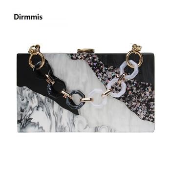 New Trendy Bags Fashion Women Handbags Black White Sequin Striped Acrylic Luxury Party Evening Bag Woman Casual Box Clutch Purse