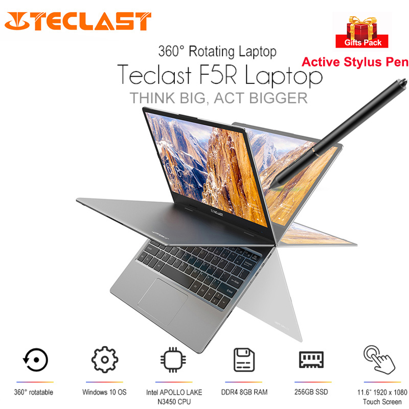Teclast F5R Laptop 11.6'' Windows 10 Intel APLLO LAKE N3450 Quad Core 8GB+256GB Notebook 360 Degree Rotation Touch Screen HDMI image