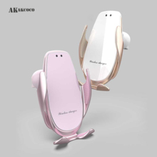 Smartlight Car Portable Phone Holder Auto Wireless Charger 15W for xiaomi iphone xr Induction Base Pink and White