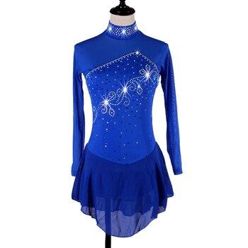 Figure Skating Dress Women girl Ice Skating Dress royal blue Gymnastics Costume custom  B101