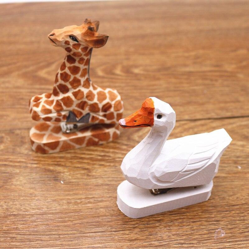 Handwork  Woodiness Animal Mini- Stapler Book Stitcher Cute Stationery Creative Gift