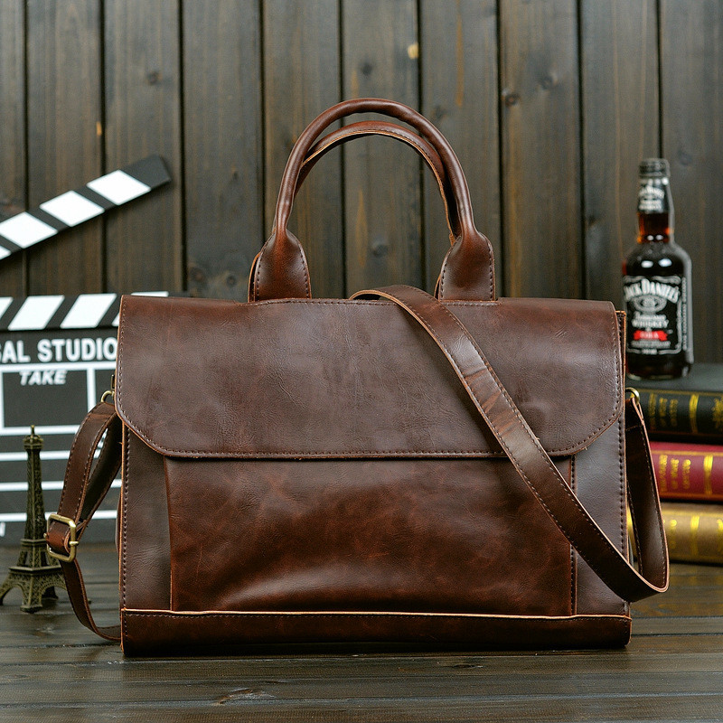 New Handbags American Men's Bag PU Leather Shoulder Messenger Business Laptop Briefcase Vintage Large Capacity Office Bag Pocket