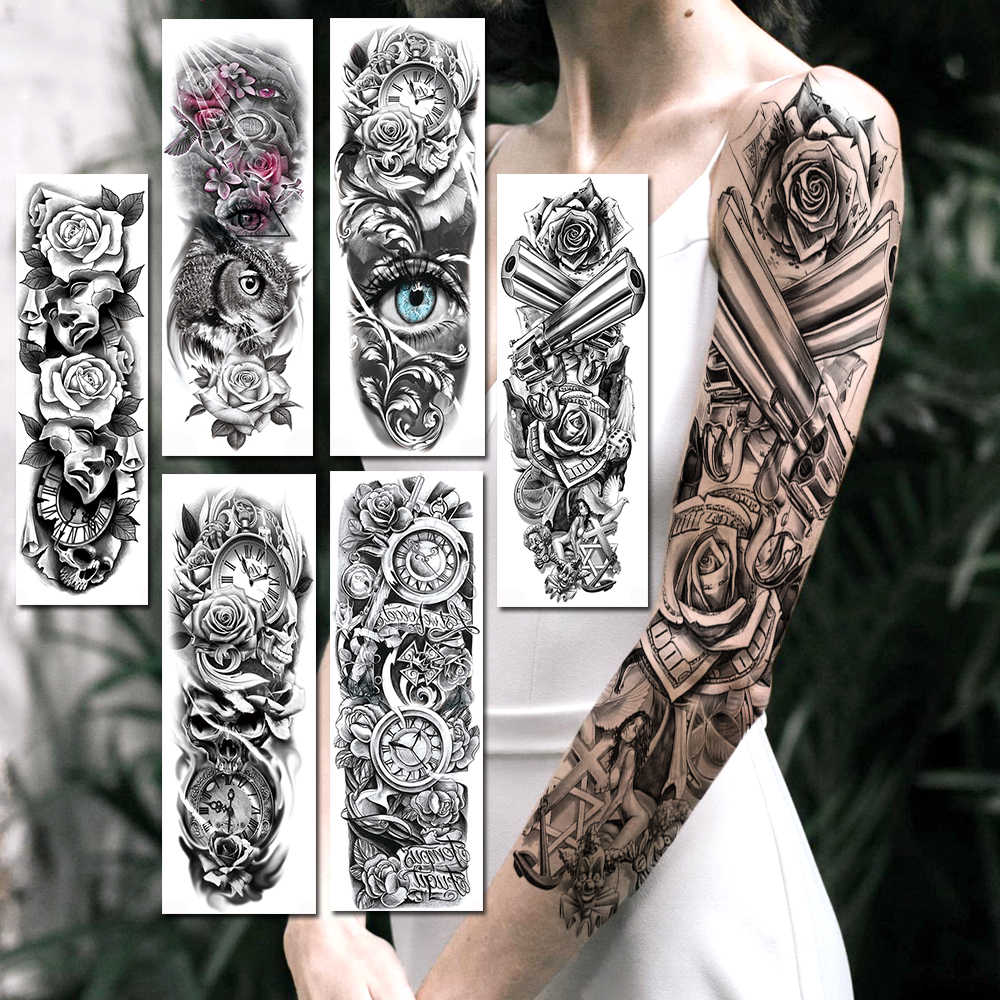 Black Gun Rose Angle Temporary Tattoos Sticker Realistic Fake Full