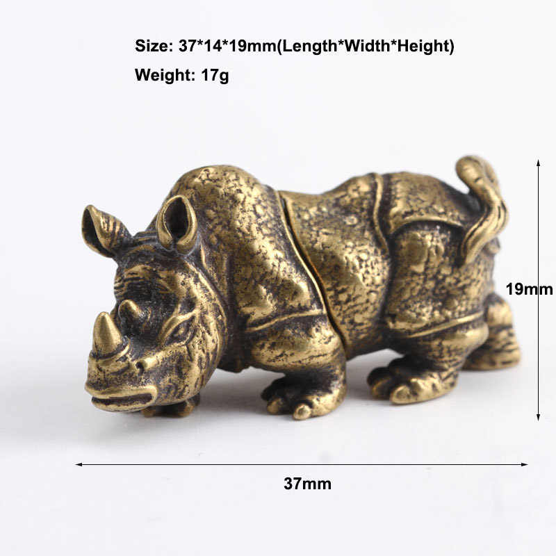 Handmade Solid Copper Rhinoceros Tea Pet Home Office Decoration Ornaments Toy Gift Desk Figurines Sculpture Mini Portable Crafts