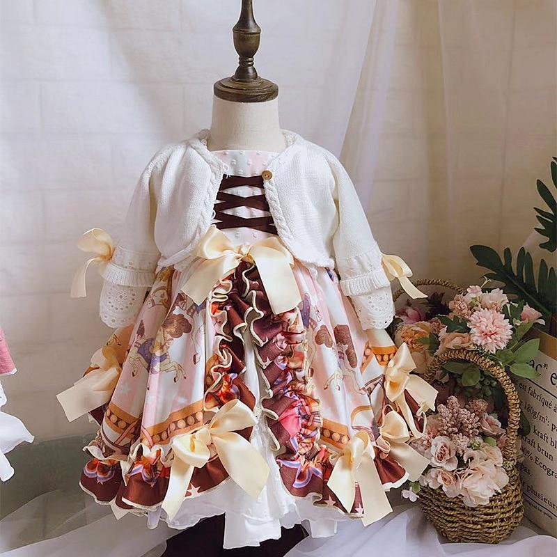 2019Autumn kids clothes Japan girls sweet sleeveless dress, full of cartoon-like princess