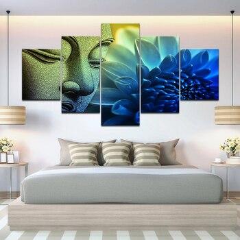 Cuadro de arte de pared 5 piezas Cabeza de Buda retrato pintura de Loto Azul póster lienzo sala de estar impresión HD Marco de decoración del hogar