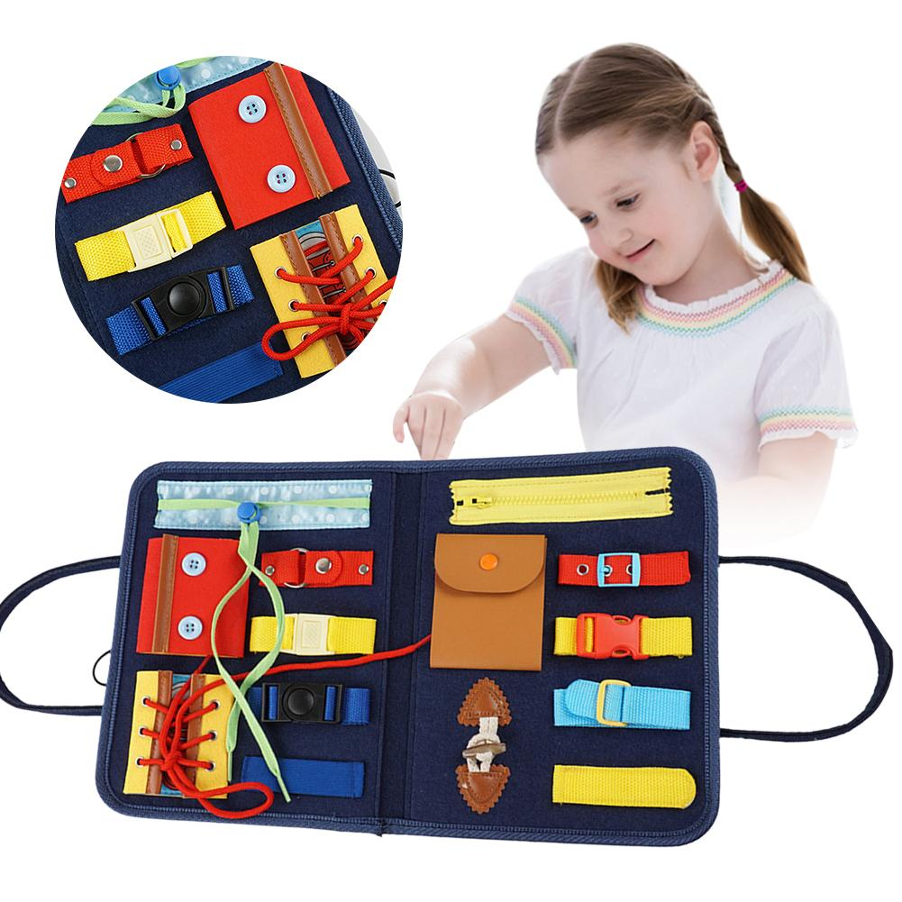 Busy Board Montessori Educational Toys For Baby Early Preschool Child Zipper/Buckle/Button Toy Life Skills Teaching Train Toys