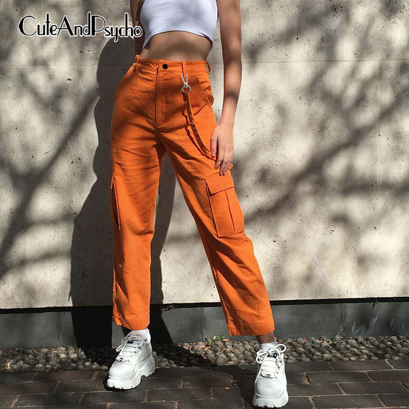 Casual  Cargo Pant Retro Women Pockets Baggy Long Trouser High Waist Pant Jogger Solid Straight Vintage Streetwear Cuteandpsycho