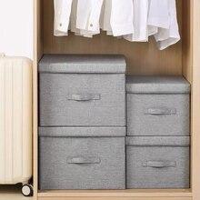 Clothes Storage Box Organizer Fabric Foldable Storage Box With Lid Underwear Socks Organizer Toys Sundries Closet Organizers