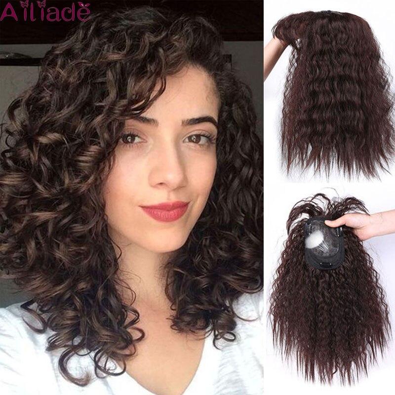 Женский топ AILIADE, кудрявые синтетические накладные волосы ручной работы, накладные волосы на зажиме, черные и коричневые