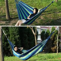 Rainbow Colorful Outdoor Leisure Hammocks Collapsible Canvas Hammocks Ultralight Camping Folding Hammock Bed With Storage Bag Outdoor Tools    -