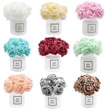 24 Heads 7cm New Multicolor Artificial PE Foam Rose Flower Bride Bouquet for Home Wedding Wreath Decor Scrapbooking DIY Supplies