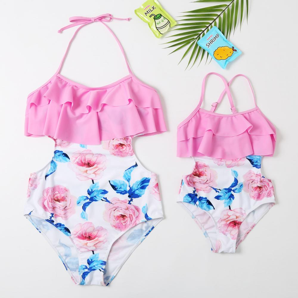 Mother Daughter Swimsuit Ruffled One-Piece Mommy And Me Swimwear Family Matching Clothes Dresses Look Mom And Baby Bath Suits