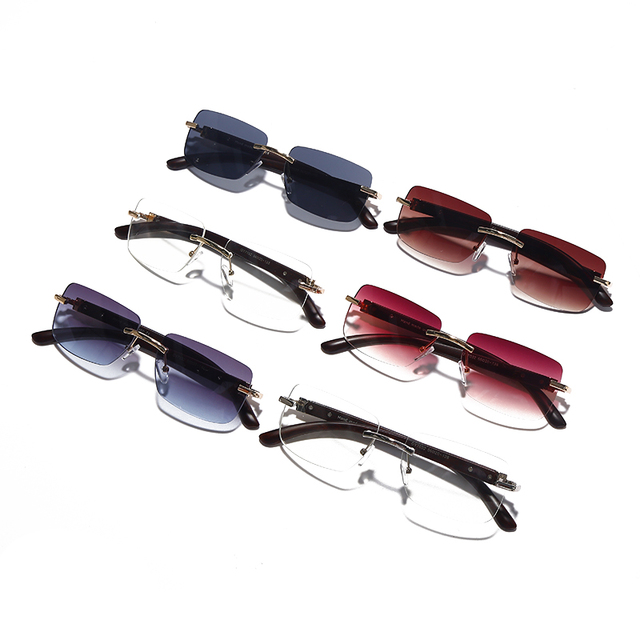 Punk Rimless Rectangle Sunglasses Men Women Vintage Shades UV400 Driving Sun Glass Frameless Gradient Fashion Eyewear 6