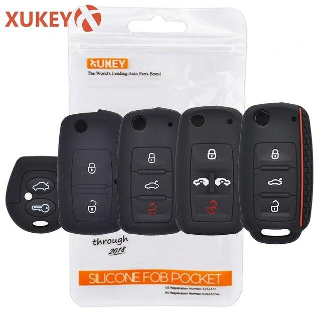 Silicone Car Key Case Cover For VW POLO Bora Beetle Tiguan Passat CC Golf For Seat Leon Altea Ibiza For SKODA Fabia Octavia