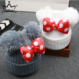 Cute Dot Cartoon Big Bow Baby Hat Cap Kids Knitted Cotton Beanie Autumn Winter Warm Girls Double Pompom Hats(China)