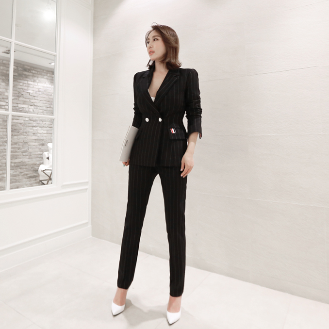 Black Striped 2 Piece Set Blazer And Pants Women Office Work Spring Notched Long Sleeve Double Breasted Elegant Fashion Blue