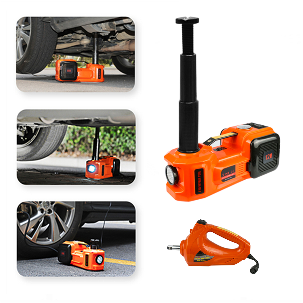 3 in 1 5ton Car Jack Electric Hydraulic Jacks Car Floor Jack 12V with Inflator Pump LED Light for Truck Tire Repair Tool QZ001