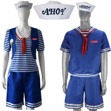 Adult Kids Stranger Things Season 3 Robin Steve Harrington Scoops Ahoy Sailor Uniform Cosplay Costume Halloween