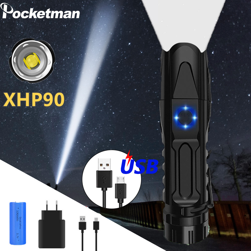 50000LM XHP90.2 LED Flashlight XLamp Tactical Smart chip control With bottom attack cone USB Torch xhp70.2 lanterna Light