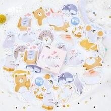 45 sztuk/partia Cute Animal Paper Journal Diary naklejki Scrapbooking płatki Seal etykiety papiernicze artykuły szkolne