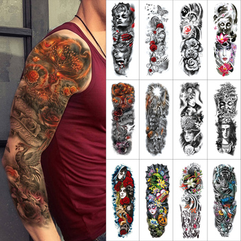 Black Temporary tattoo sticker Full arms Flash Tattoos Sleeve watercolour Flowers faces tigers fake tattoo for Men and Women