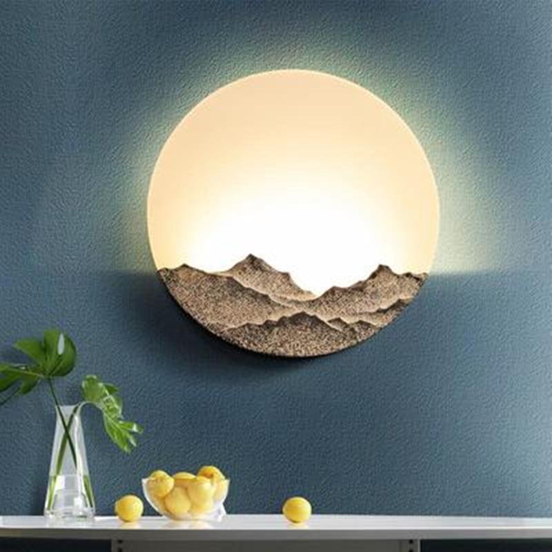 Creative Mountain Wall Light Fixtures Resin LED Wall Lamp Bedroom Living Room Acrylic Wandlamp Sconce Applique Murale Luminaire