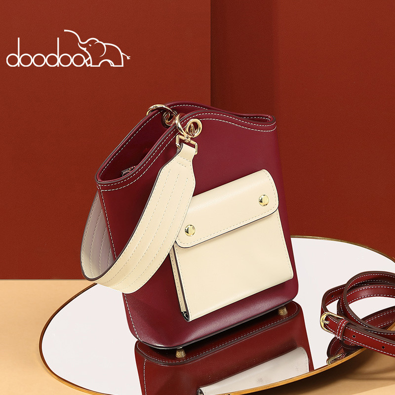 DOODOOBag Female2020New Spring And Summer Messenger Bag Personality Contrast Color Wild Portable Wide Shoulder Strap ShoulderBag
