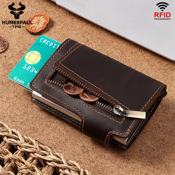 HUMERPAUL RFID Blocking Credit Card Holder Crazy Horse Leather Coin Purse Pocket Aluminium Box for Men ID Card Case Male Wallet men automatic credit card holder wallet crazy horse leather male coin purse mini id card rfid blocking pop up creditcard case