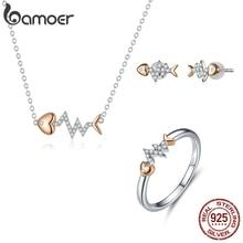 Bamoer Настоящее 925 пробы Серебряная рыбья кость с сердцебиением розовое золото цвет ожерелье кольцо и серьги гвоздики для женщин ZHS185