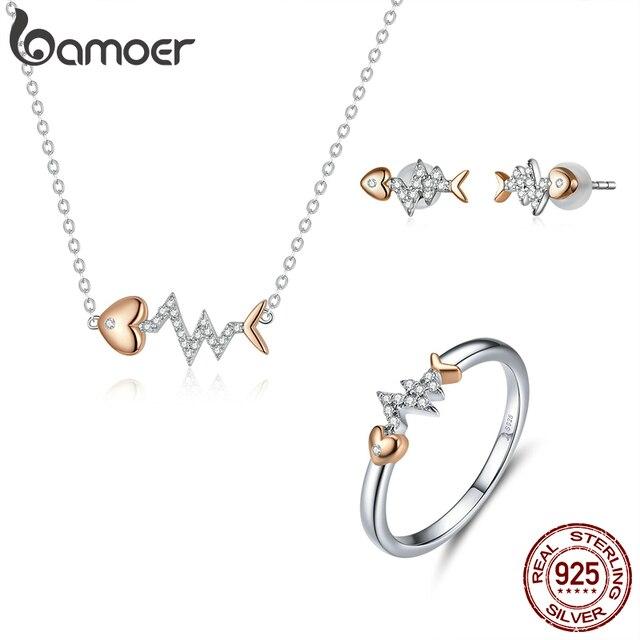Bamoer אמיתי 925 סטרלינג כסף דגי עצם עם פעימות לב רוז זהב צבע שרשרת טבעת ועגילים לנשים ZHS185