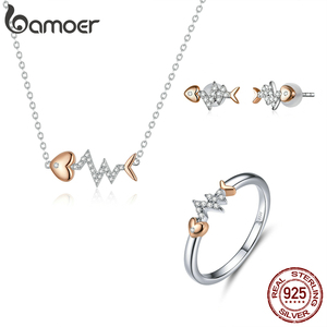 Image 1 - bamoer Real 925 Sterling Silver Fish Bone with Heartbeat Rose Gold Color Necklace Ring and Stud Earrings for Women ZHS185