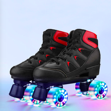 Roller-Skates Four-Wheel Pink Double-Row Adult Women Flash And