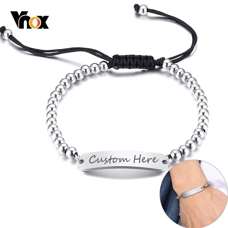 Vnox Customize Name ID Bracelets For Women Men Stainless Steel Beads Bracelet Perssonalize Unisex Jewelry