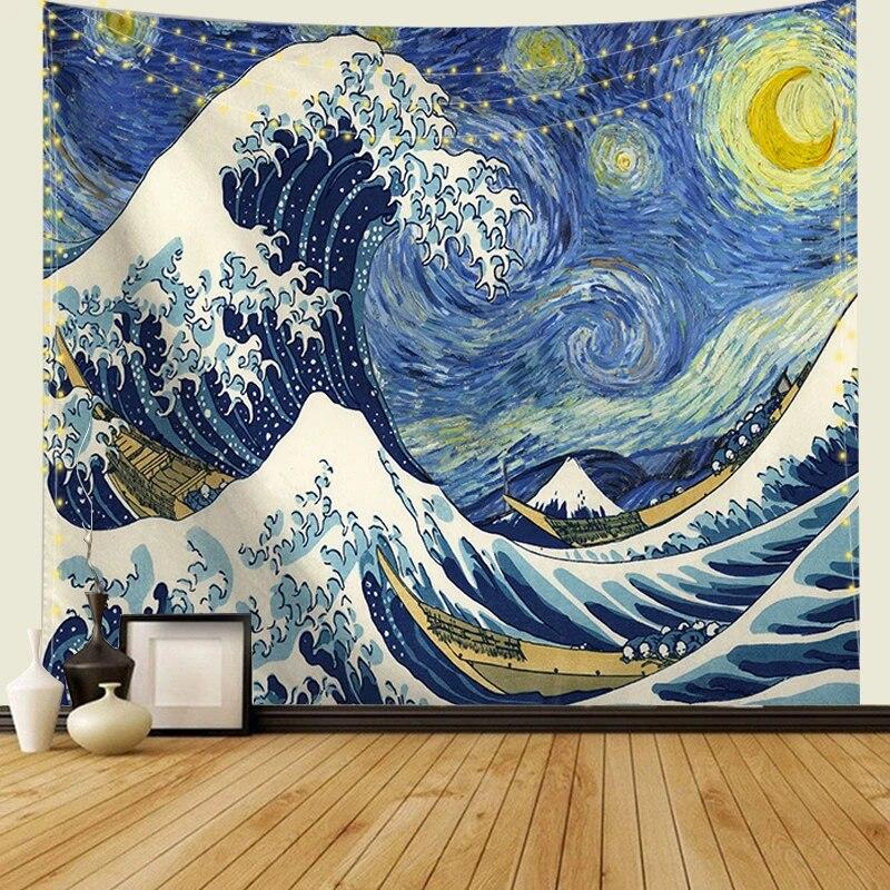 Japanese Ukiyo-e Kanagawa Surf Hanging Wall Tapestry Boho Hippie Throw Bedspread