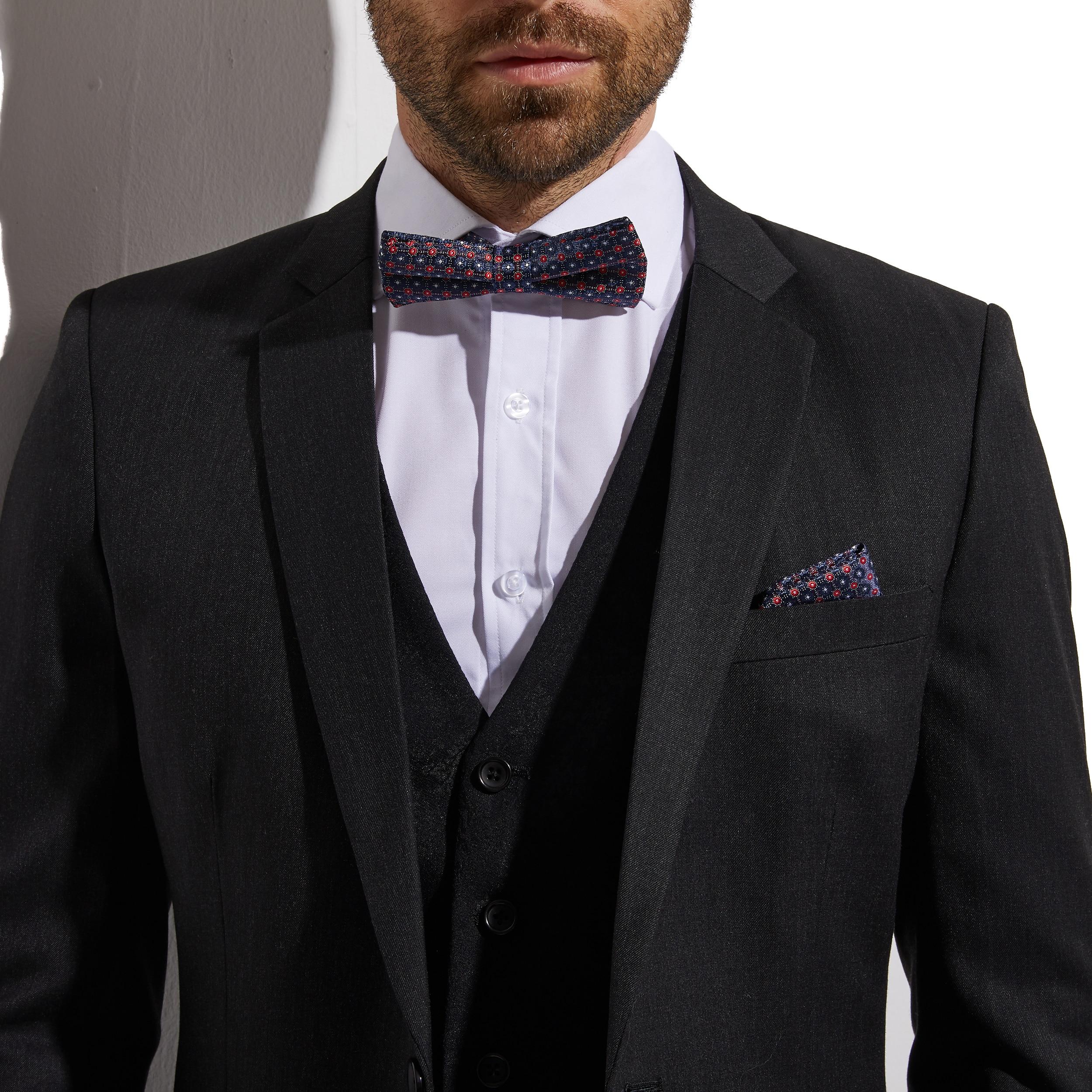 2020 Slim Fit Dark Charcoal Grey Groom Suit With Jacquard Vest Custom Made 3 piece Wedding Suits For Men  Wedding Groom Tuxedo 5