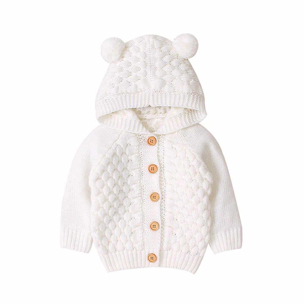 Gebreide Baby Trui 2019 Winter Pasgeboren Vest Truien Voor Peuter Jongens Hooded Jassen Button Up Herfst Baby Meisjes Jas