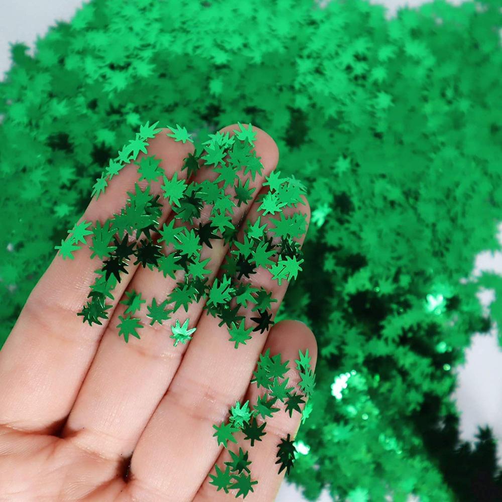 Блестки с зелеными кленовыми листьями, блестки для ногтевого дизайна, тонкие блестки, хлопья, наклейки, рождественские украшения для маникю...