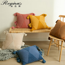 REGINA Elastic Tufted Cushion Cover 45*45 50*50 Soft Fuzzy Comfy Breathable Decorative Sofa Bed Beige Knitted Pillow Case Cover