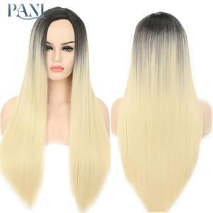 Pani perucas retas para preto feminino sintético laço frente extensão do cabelo 613 ombre com raízes escuras cosplay loira peruca de renda natural
