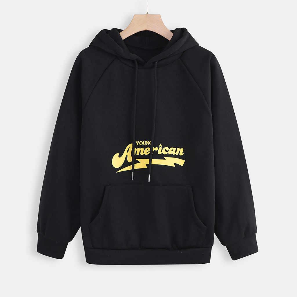 Womail Frauen Sweatshirt Hoodies frauen Freizeit Brief drucken Lange Hülse streetwear Pullover top Koreanischen sport Damen Sweatshirt P0