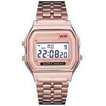 Electronic Watches Men Women LED Digital Waterproof Quartz Watch Stainless Steel Band Golden Wrist Watch Relogio Masculino