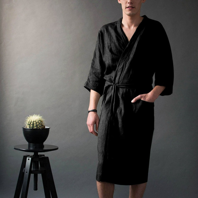 Hot Sale Men's Long Belt Nightgown With Pocket Solid Color Linen Nightgown Five-point Sleeve Casual Gown