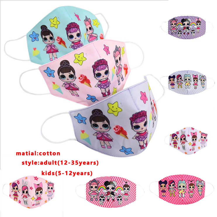 Lol Mask Doll Mask Girl Reusable Cotton Face Mask Anti Dust Mouth Face Protective LOL Mask Cartoon Kids Adult Parent-child Mask