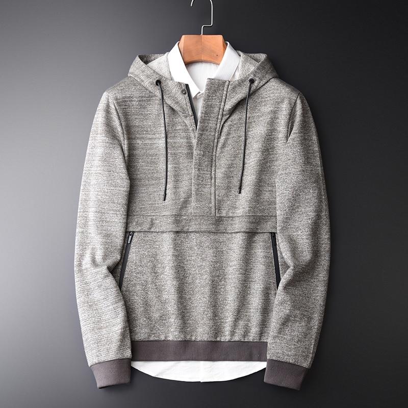 Yarn Dyed Hoodies Spring New Luxury Hooded Sweatshirts Men Plus Size 4xl Fashion Slim Placket Front Sweatshirt Male