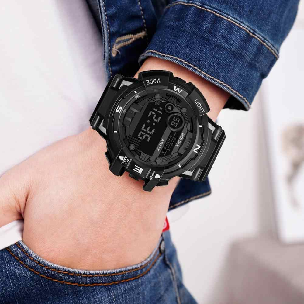 Mode Mannen Waterdichte LED Digitale Datum Militaire Sport Rubber Quartz Horloge Alarm Z106