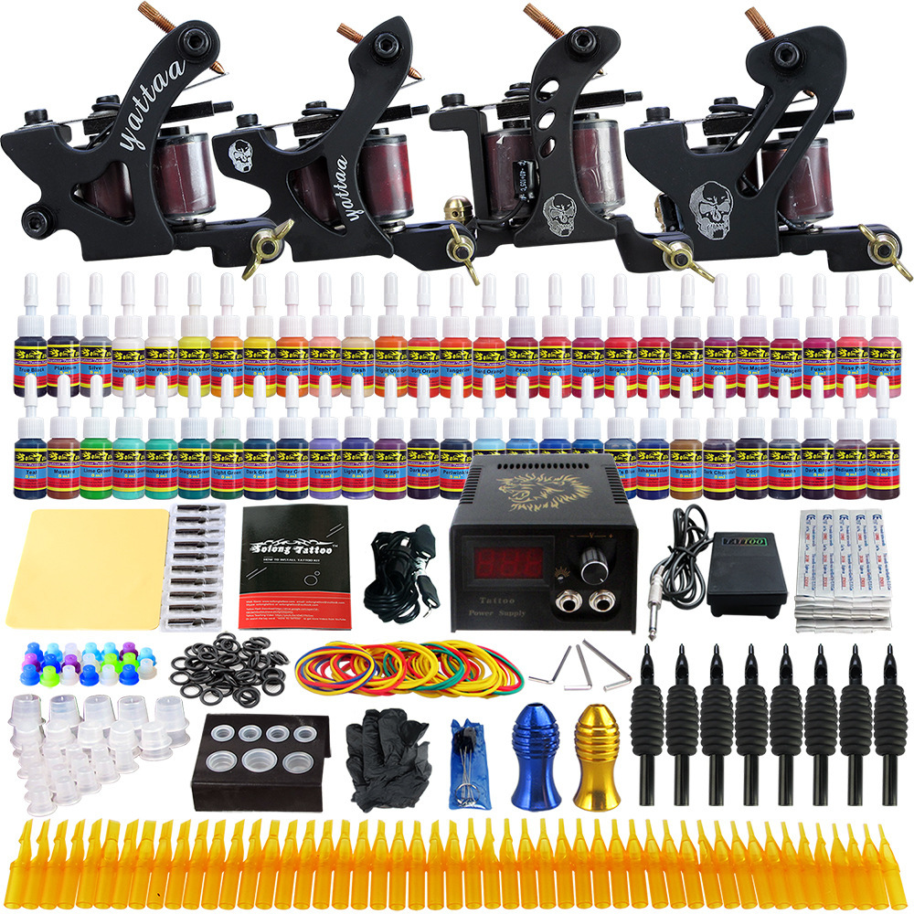 kit tattoo machine coil liner shader tattoo gun power suppliy ink needles handles complete accesorios supplies for body artist